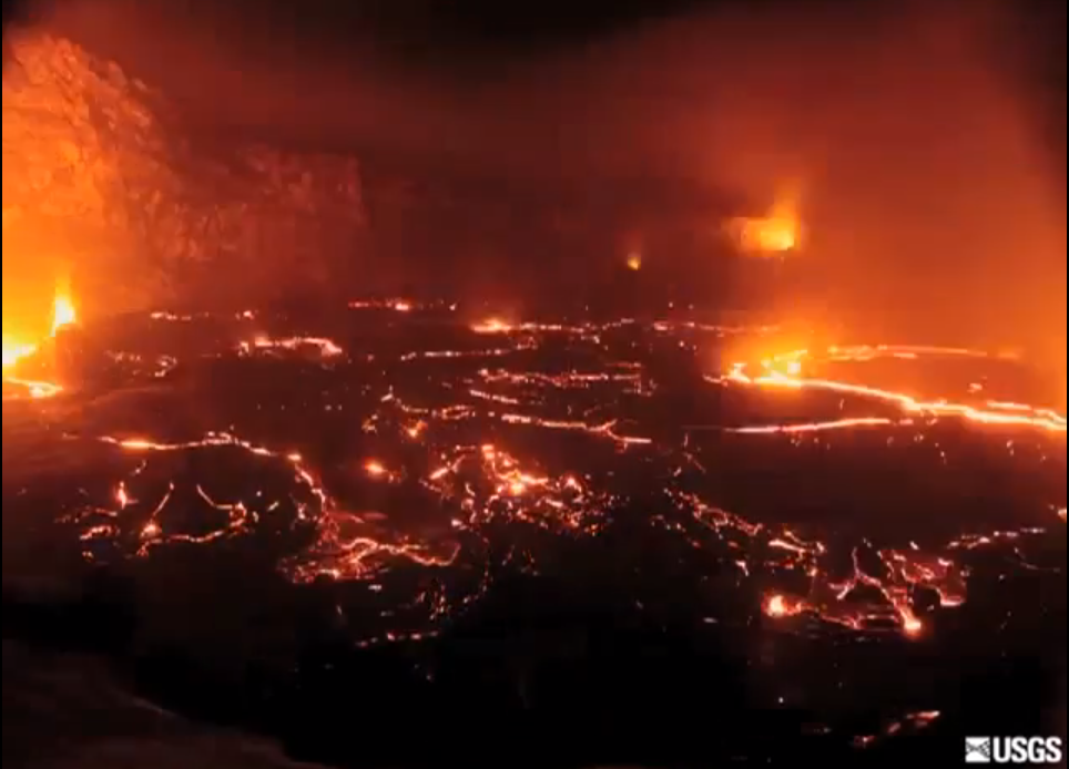 Lava Crater Collapses